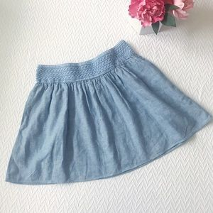 J Crew Chambray Linen Slip On Mini Skirt